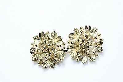 Vintage Clover Leaves Berries Gold Coloured Large Clip On Earrings (c1960s)