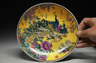 Exquisite Chinese Ceramics Colorful Handmade Peacock Figure plate