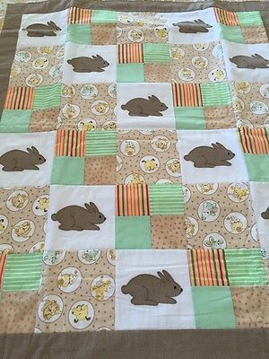 "Handmade patchwork quilt 'little Bunnies' Size  47"" X 52"" With Appliqué"