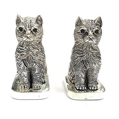 Novelty Antique Style Cat Kitten Salt & Pepper Shakers Emerald 925 Silver Plate