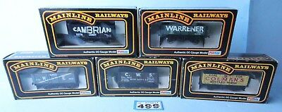 Mainline 'oo' Gauge Qty Of 5 Assorted 5 & 7 Plank Wagons Boxed #499B