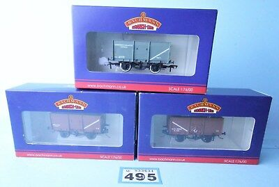 Bachmann 'oo' Gauge Qty Of 3 Assorted 16T Slope Sided Mineral Wagons Boxed #495B