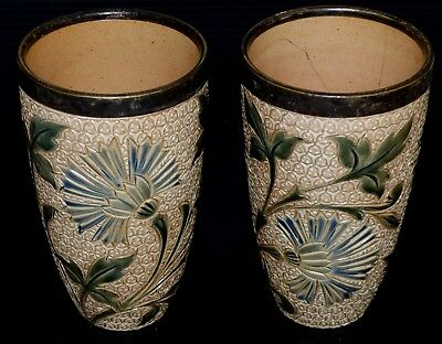 c1880 DOULTON LAMBETH PAIR OF THISTLE DECORATED BEAKERS WELL MARKED TO THE BASES