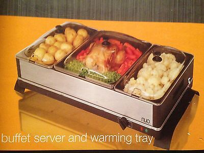 New Nuo Buffett Server & Warming Tray Electric Food Warmer 3 Pan 350W Hot Plate