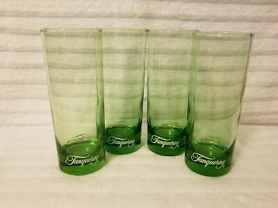 "Four Tanqueray Gin Green 8 Oz. Highball Collins Glasses Barware 6 1/4"" Tall Mint"