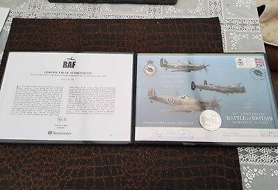 2007 UK BATTLE of BRITAIN  Gibraltar  SILVER  £5 Coin  First Day Cover  Signed