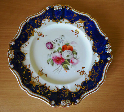 19c  COPELAND AND GARRETT PORCELAIN DESSERT PLATE WITH HAND PAINTED FLOWERS