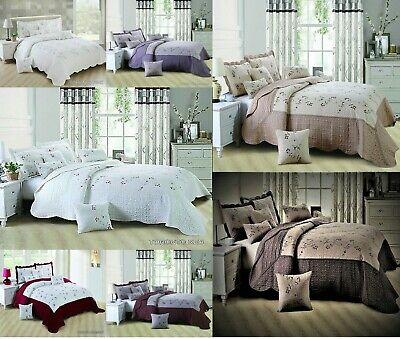 New Luxury Bedspread Embroidered 3 Piece Bedding Set Quilted Bed Throw Comforter
