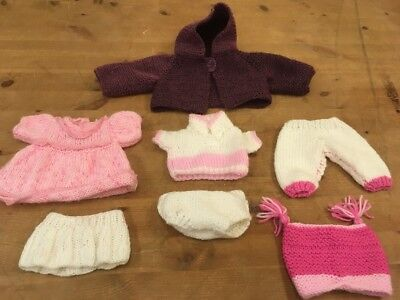 Vintage Knitted Dolls Clothes Premature Baby Handmade