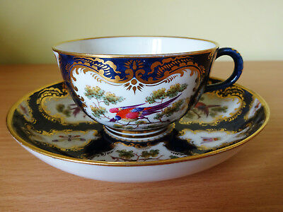 19c GRAINGER WORCESTER CUP AND SAUCER c1886.  COPY OF 1770 PATTERN