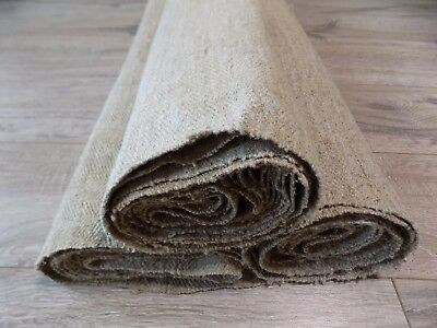 Antique Handwoven Heavy Raw Flax Three Fabrics 12x0,69m 19thC Great condition #1