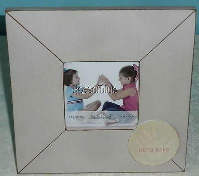 """PICTURE FRAME WOOD IVORY CREAM PINK Pat A Cake 8.5 x 8.5"""" for 4 x 4"""" PHOTO Baby"""