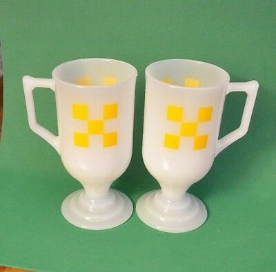Vintage - Federal Glass - Yellow Checkerboard - Pedestal Footed Mugs - Set of 2