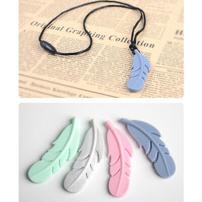 Silicone Nursing Feather Pendant Baby Teether Soother Chew Toy Teething Necklace