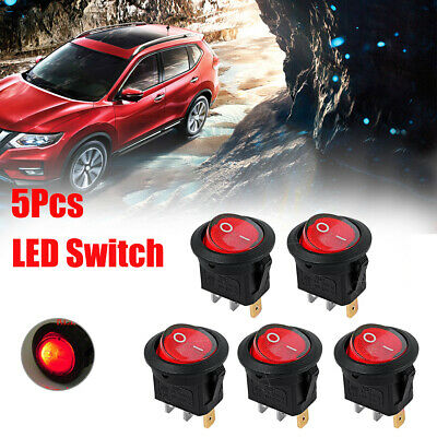 5x Car Plastic Round 3-Pin ON-OFF Red LED SPST Toggle Rocker Boat Snap Switches