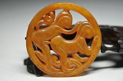 Chinese Old Jade Carved people pendant a3