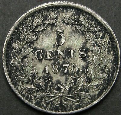 NETHERLANDS 5 Cents 1876 - Silver - Willem III - XF - 520 ¤