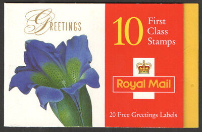 1997 SG KX 9 10X1st CLASS GREETINGS STAMP BOOKLET WITH CYLINDER NUMBERS