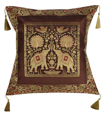 Indian Silk Cushion Cover Brocade Brown Tassel Square Sofa Couch Bed Pillow Case