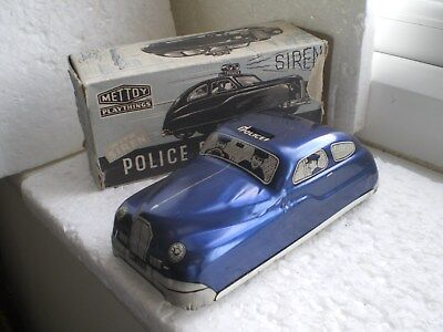 Vintage Tin Plate Police Car By Mettoy - Boxed