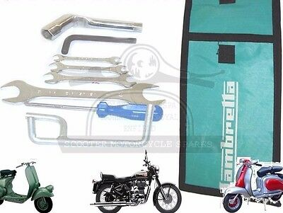 LAMBRETTA HAND TOOL KIT 7 PIECE & GREEN WOVEN POUCH JACK, SPANNERS ETC. @AEs