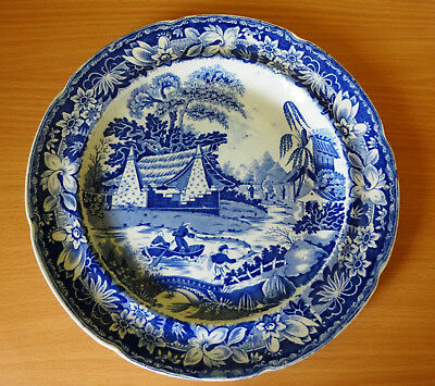 19c BLUE AND WHITE PEARLWARE PLATE CHINESE BOYS PLAYING