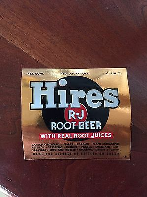 Vintage Hires Root Beer GOLD foil bottle label 12 oz   R-J