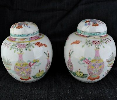 Pair of Antique Republic Period Style Chinese Jars Chinese Objects