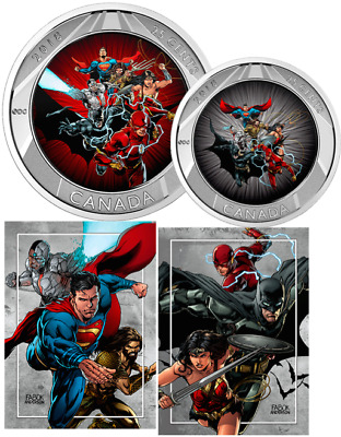 2018 Justice League Heroes 3D 25cents Coin Canada & 2 Trading Cards: DC Comics