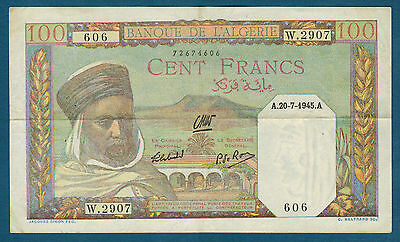 ALGERIA - 100 FRANCS Pick No. 85. du 20-7-1945. very good condition W.2907 606