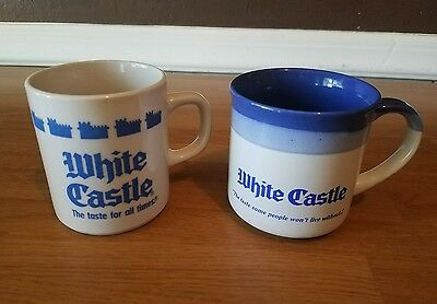 Lot of 2 Collectible Retro White Castle Hamburgers China Coffee Mugs Cups 1990s