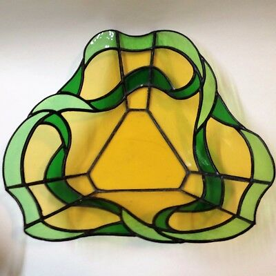 Coloured Glass Leadlight Bowl -28cm Wide - Green & Amber - Skilled Craftsmanship