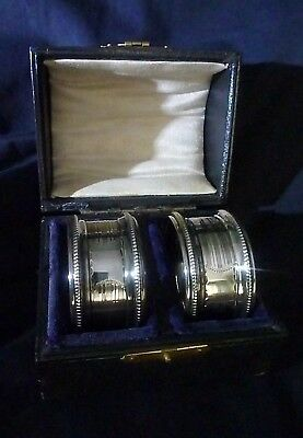 Pair of Cased Solid Silver Napkin Rings by Rolason Brothers Birmingham 1921