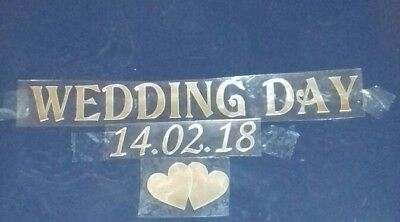 Personalised WEDDING DAY Plus Date and hearts in silver mirror Iron on transfer