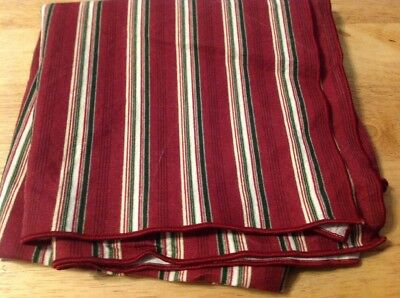 "Longaberger 36"" Tablecloth Square Holiday Stripe cloth....retired"