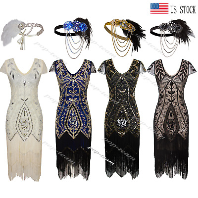 831b6ce142a Vintage 1920s Flapper Dress Gatsby Roaring 20s Wedding Party Prom Costume  Theme