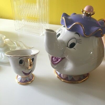 UK Beauty And The Beast Teapot Cartoon Mug Mrs Potts Chip Tea Pot Cup Set