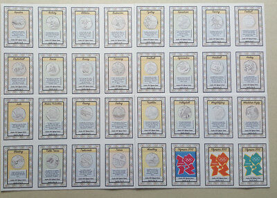 2012 London Olympic 50p Cards ... Complete unique set of 32 Cards