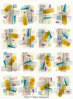 "abstract modern art 23""x32"" ink on paper colorful geometric shapes contemporary"