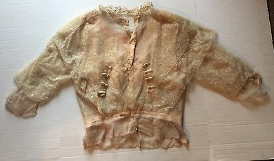 Antique Edwardian Hand Made Lace Blouse Bodice Silk Lined No Reserve