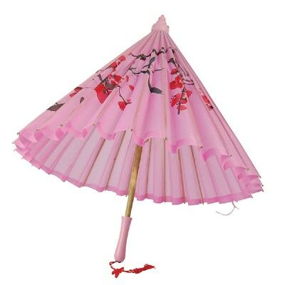 Pink Silk Parasol With Wooden Handle Japanese Geisha Fancy Dress Accessory
