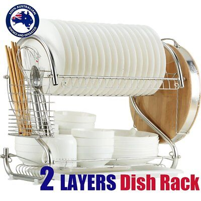 2 Layer Steel Kitchen Dish Rack Cup Drying Drainer Tray Cutlery Holder AUSTOCK