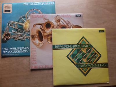 3 x PHILIP JONES BRASS ENSEMBLE vinyl LPs. Classics;Silver Jubilee; Easy Winners
