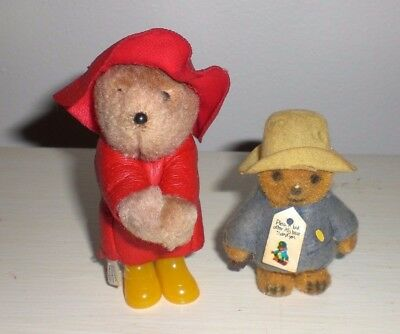 LOT 2 Paddington Bear Eden Toys Clip-On Small Mini Plush Red Raincoat & Hat 1980