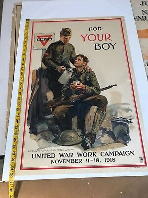 Y.m.c.a Ww1 Poster, For Your Boy, By Arthur W. Brown United War Work 1918 Campai