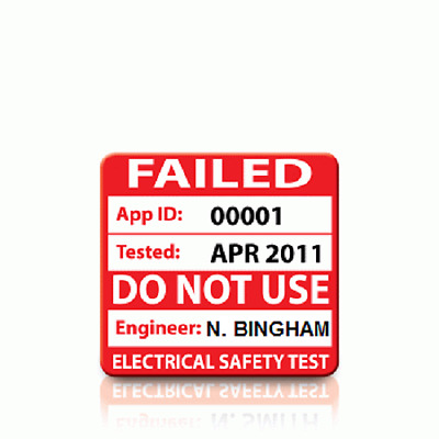 Personalised 'FAIL' PAT Test Labels - SMALL (500)
