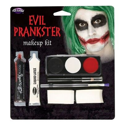 Halloween Evil Prankster/Joker Make Up Kit with Latex,Blood, Makeup & Applicator