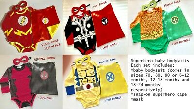 Superhero baby bodysuits boys superman batman robin flash marvel white cape mask