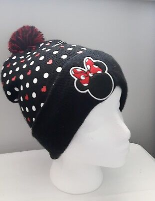 NWOT DISNEY MINNIE MOUSE toque HAT with pom pom polka dot hearts one size