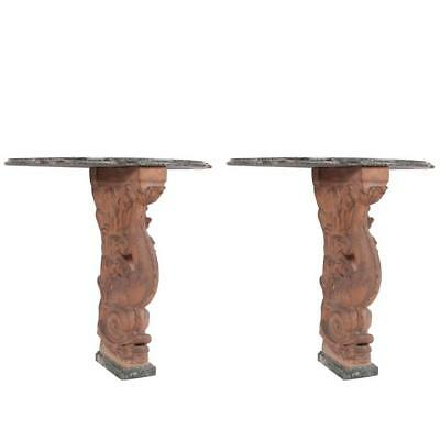 Pair of Italian Neoclassical Terracotta Dolphin Console Tables with Marble Tops